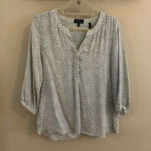 Theory White and Blue Blouse